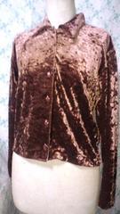 スエードベロア別珍温かい茶色ブラウンシャツ[M-L]