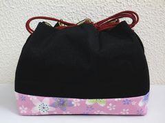 着物&卒業式袴に 横長型ちりめん巾着黒地桜桜
