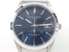7685/CLAUDIOVALENTINOヴァレンチノ★ブルーダイヤルメンズ腕時計格安