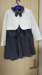 卒園式入学式に白ジャケット水玉ネイビーワンピース120130