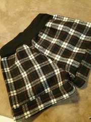 ウール起毛ショートパンツM-L黒ブラックチェック柄マタニティ