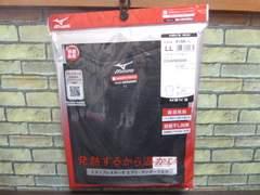 送料込(LL黒)ミズノ ブレスサーモ Vネック半袖シャツ 薄手インナーV首吸湿発熱消臭