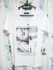 Tシャツ Vネック 半袖 プリント メンノン カジュアル 新品