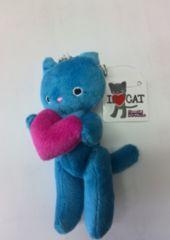 新品☆未使用♪I   Love   Cat  ぬいぐるみBCキーホルダー 青 値下げ