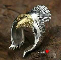 送料無料17号シルバーゴールドビッグメタルイーグルリング指輪