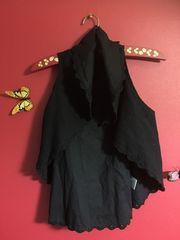 フラワーチルドレン花柄刺繍レースブラック系ベスト