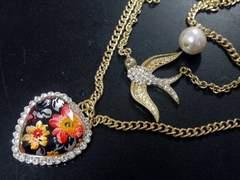 新品 ゴスロリ姫系アンティーク調鳥と花柄ハートネックレス