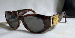 正規美 ヴェルサーチVERSACE メデューサロゴヴィンテージサングラス 茶×ゴールド眼鏡