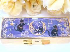 ■Handmade■レジン 印鑑ケース(夜中の黒猫