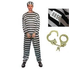 囚人服 5点セット 上下 帽子 囚人番号シール 手錠 1/BBS