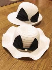 子供用白ストーンデカリボンツバ広フレア女優麦わら帽子お揃いに