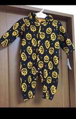 ハロウィン 裏起毛 フード付き ロンパース 70cm かぼちゃ