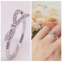 指輪 18K RGP リボン ハーフ エタニティ リング yu1089e