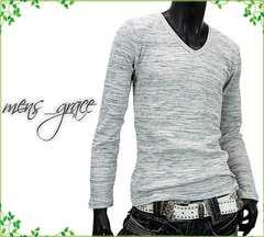 新品 長袖Tシャツ Vネック 伸縮ワッフル素材 グレー杢 L