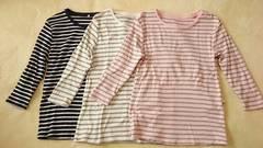 ボーダー白グレー&ネイビー白&ピンクグレー七分袖Tシャツ3セット