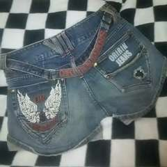 used美品★oririn jeans鷹の刺繍のショーパンM