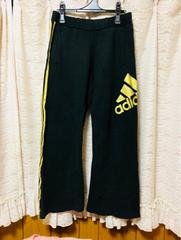 adidas スウェット パンツ ジャージ M ブラック×ゴールド