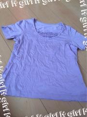 ラベンダー色 首元フリル無地半袖Tシャツ