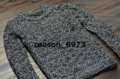 ★ケーブル編みニットセーター★黒×白/3サイズから選択