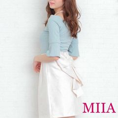 定価8,532円【新品】MIIA パール リボンテールスカート White白