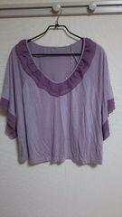 新品:サイズ2L〜3L:薄紫半袖トップス