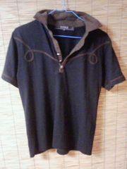 キレイメ 半袖ポロシャツ 黒×こげ茶 M