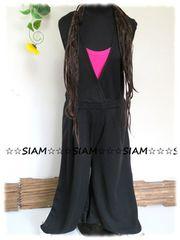 春夏新☆大きいサイズ☆3Lブラック☆前交差☆腰ゴム裾ゆったりワイドパンツ