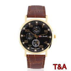 腕時計 時計 アナログ レザー 革ベルト 金フレーム ウォッチ 茶