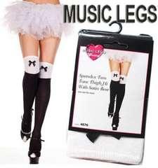 2A9)MUSICLEGS2トーンリボンニーハイソックス黒白コスプレダンサー衣装ダンスB系