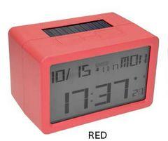 新品 ハイブリッド 電波 フリスコ LCD 置時計 076 赤