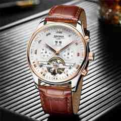 スケルトン トゥールビヨンメンズ機械式 メンズ腕時計 ブラウン