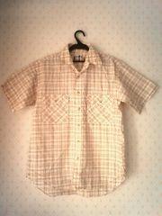 マドラスチェック柄★半袖ネルシャツ(Mサイズ)クリーム色