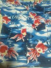 ☆新柄青紺×金魚大柄ダボシャツL
