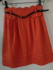 フレアスカート オレンジ色 ベルト付き