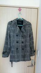 チェックブラックジャケット黒×白ロング丈長め