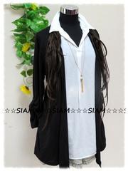 春夏新作☆大きいサイズ☆3Lブラックトッパーカーデ&ホワイトシャツ一体型チュニ