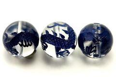 皇帝の五爪龍☆水晶青彫り12mmビーズ1粒