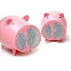 新品★携帯やPCなど...可愛い2匹の豚さんスピーカー★ピンク