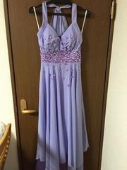 新品 シフォンロングドレスM紫