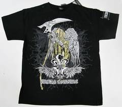 X27)VICTORIOUSスカルデザインTシャツ黒