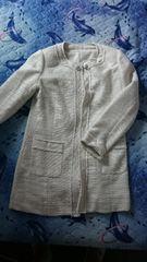 ツイード調ロングジャケット 白 美品
