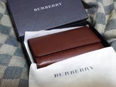 バーバリー/BURBERRY 本革製キーケース 焦げ茶 ・新品