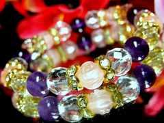 バラ彫ローズクォーツ§ダイヤカット水晶§アメジスト§8ミリ§花金ロンデル