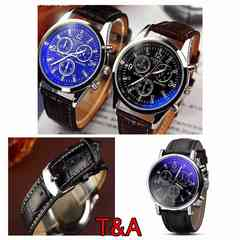 腕時計 時計 アナログ メンズ レザー 革ベルト  ウォッチ 黒