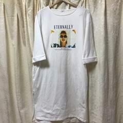 新品 フォトプリント 七分袖Tシャツワンピース LLXL大きいサイズ