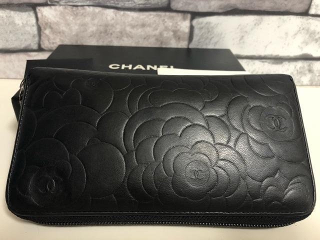 【正規品】美品 CHANEL シャネル ブラック カメリア 長財布 < ブランドの
