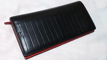 正規レア ディオールオム CDロゴ×ストライプライン長財布黒 赤 ブラック×ルージュレッド