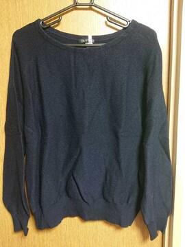 INDIVI昨季美品ネイビーストレッチニットセーター大きいサイズ4213号15号ウール混