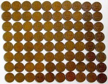 ◆ギザ10円 青銅貨 昭和33年 特年 80枚 美品〜上品