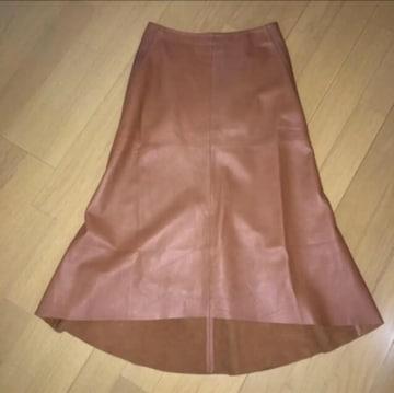 DKNY リアルレザー フィッシュテール スカート 2 茶